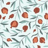 Tropical Seamless Pattern With Pomegranate Trees. Fruit Background. Vector Bright Print For Fabric Or Wallpaper. Stock Photos