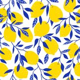 Tropical seamless pattern with yellow lemons. Fruit background. Vector bright print for fabric or wallpaper. stock illustration