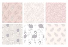 Tropical seamless patterns collection. Set of hawaiian plants, palm leaves, flamingo, pineapples hand drawn doodles. Good for wallpaper, invitation cards royalty free illustration