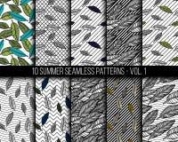Tropical seamless patterns set Royalty Free Stock Photo