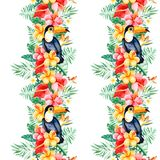 Tropical seamless repeat border with multicolored flowers royalty free illustration