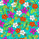 Tropical Seamless Repeat Pattern Vector. Tropical Flower Seamless Repeat Pattern Vector Illustration Royalty Free Stock Photography