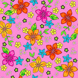 Tropical Seamless Repeat Pattern Vector. Tropical Flower Seamless Repeat Pattern Vector Illustration Stock Photo