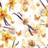 Tropical  seamless watercolor floral pattern Stock Image