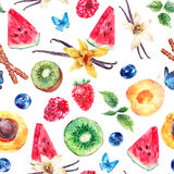 Tropical  Seamless Watercolor Pattern Stock Photo