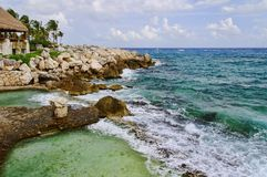 Tropical seascape. Ecological Park Xcaret. Caribbean Sea, Cancun, Mexico Royalty Free Stock Photo