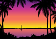 Tropical seascape. Tropical sea view – vector illustration royalty free illustration