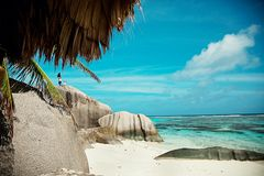Seychelles. Stones and the ocean. stock image