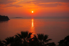 Tropical seascape with the sunset Royalty Free Stock Photo