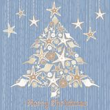 Tropical Seashell Christmas Tree Card Stock Photos