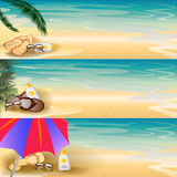 Tropical seashore banner set Stock Photography