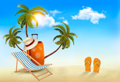 Tropical seaside with palms, a beach chair and a suitcase.  Stock Images