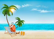 Tropical seaside with palms, a beach chair and a suitcase. Royalty Free Stock Photo