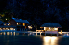 Tropical seaside resort night view Royalty Free Stock Photography