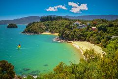 Tropical secluded Bay with Beach Royalty Free Stock Photo