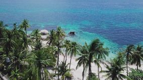 Tropical Secluded Island Koh Tao with Crystal Clear Lagoon Water and White Sandy Beach in Thailand. Aerial Top View. Shot with a DJI Mavic fps 29,97 4k stock footage