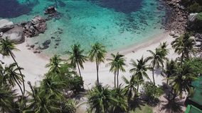 Tropical Secluded Island Koh Tao with Crystal Clear Lagoon Water and White Sandy Beach in Thailand. Aerial Top View. Shot with a DJI Mavic fps 29,97 4k stock video
