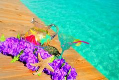 Tropical Setting by Pool Royalty Free Stock Photos