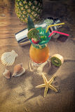 Tropical sex on the beach cocktail with shaker Royalty Free Stock Photo