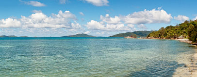 Tropical Seychelles ocean and island landscape Royalty Free Stock Photography