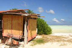 Tropical shack. Shack on tropical beach in Caribbean royalty free stock images