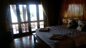 Tropical shady hotel room near beach royalty free stock photos
