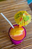 Tropical shake, refreshment drink in glass on tropical Royalty Free Stock Photos