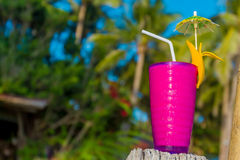 Tropical shake, refreshment drink in glass on tropical. Tropical shake, refreshment drink in decorated galss on tropical background Royalty Free Stock Image
