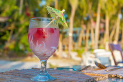 Tropical shake, refreshment drink in glass on tropical Stock Image