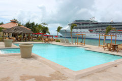 Tropical ship and beach stock photo
