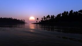 Tropical Shore Sunset Fantasy stock photos