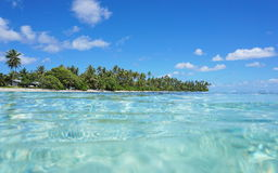 Tropical shore and turquoise water Huahine island Stock Photos