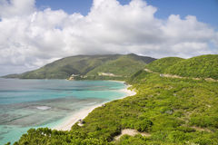 Tropical shoreline. Beautiful mountains and tropical shorelines of the Virgin Islands Stock Images