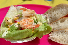 Tropical shrimp salad on the party stock photography