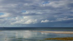 Tropical Siquijor beach. A bright, cloudy morning clip from Siquijor Island white sand beaches. Swallows can be seen flying over low tide pools and feeding stock video footage