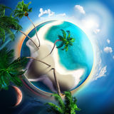 Tropical small planet with coconut trees Royalty Free Stock Image