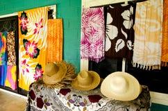 Tropical Souvenir Shop in Aitutaki Cook Islands. Straw hats for sale in a tropical souvenir shop in Aitutaki Cook Islands royalty free stock image