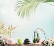Tropical SPA background with wellness equipment, massage tools , towels and succulent plants at blue sky background with hanging. Palm leaves and bokeh. Healthy stock image
