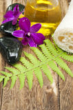 Tropical spa concept. Tropical spa and wellness concept on wooden board Royalty Free Stock Photography
