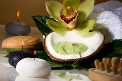 Tropical spa set Royalty Free Stock Photo