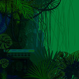 Tropical spinney foliage jungle nature background. Dark green and blue palm leaves, tree branches and old ruins vector vector illustration