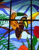 Tropical stained glass window Stock Image