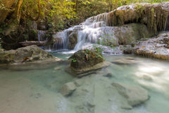 Tropical steam waterfall in deep forest jungle Stock Photo