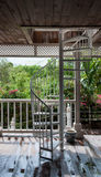 Tropical steel spiral staircase Royalty Free Stock Images