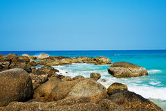 Tropical stones beach. Phuket island. Royalty Free Stock Images