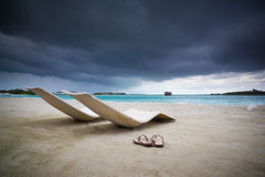 Before the tropical storm. Relax on beach before storm, malediven Stock Image