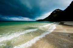 Tropical storm over a deserted beach Royalty Free Stock Image
