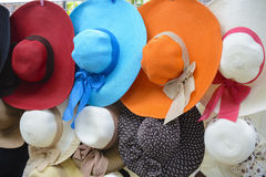 Tropical straw hats Royalty Free Stock Photography
