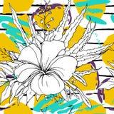 Tropical, stripe, animal motif. Seamless pattern stock illustration