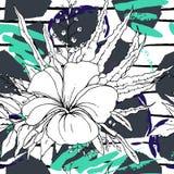 Tropical, stripe, animal motif. Seamless pattern royalty free illustration